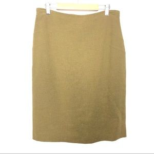 Jil Sander Green Wool Blend Knit Straight Skirt